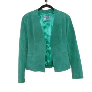 BlankNYC Suede Leather Blazer Jacket Green Sz S